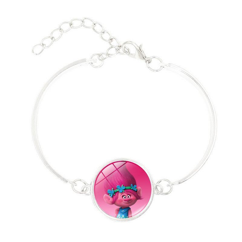 Joyería de anime con silve plateado Dreamworks Trolls Poppy Pattern Charm Bracelet Brazalete de declaración para niños Mujeres