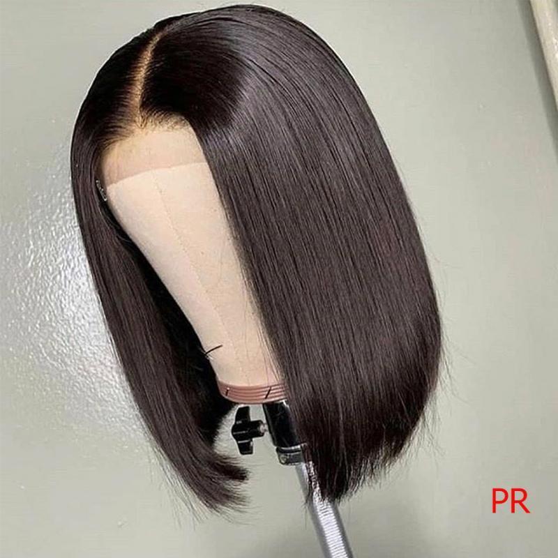 180 Yoğunluk düz kısa insan saç peruk 13x6 Dantel ön insan saç düz Bob Dantel ön peruk Malezya Bob 8-16 inç