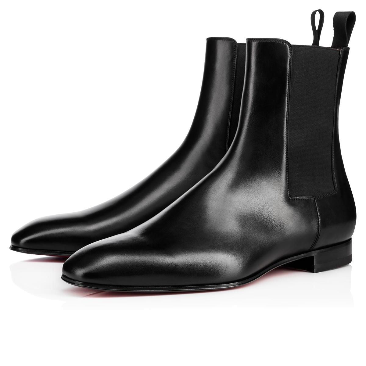 High Quality Black Men Ankle Boots Red