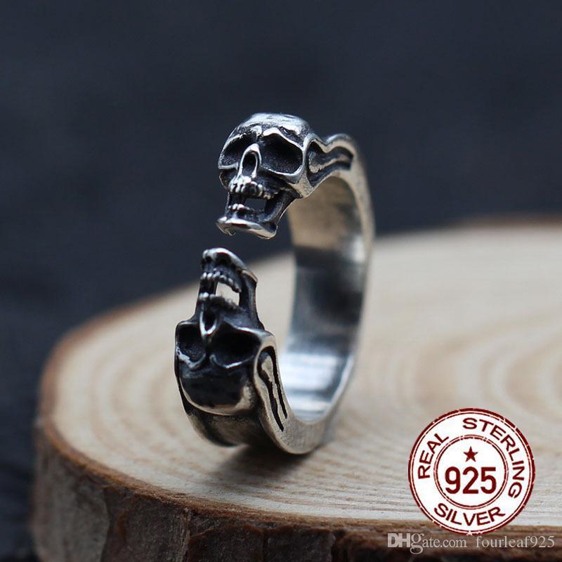S925 prata anel personalizado moda clássico ornamentos retro modelagem crânio Enviar dom amor dos homens 19 anos quente