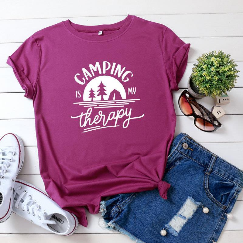 Women's womens designer Tops Tees Clothing Camping is my therapy cotton printed short sleeve T-shirt black, yellow, pink, white, dark grey,