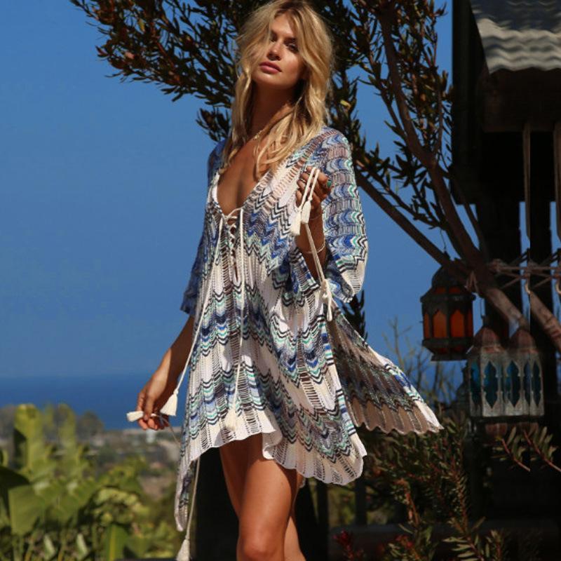 Femmes Designer Beach Dress Fashion Casual Maillots de bain vacances 2020 Nouvelle crème solaire d'été Casual Knit Chemisier Taille Cutout gratuit Hot