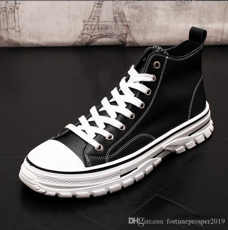British Style Fashion Autumn Men Snow Boots Leather Footwear High Top Canvas Casual Gommino Driving Wedding Prom Shoes