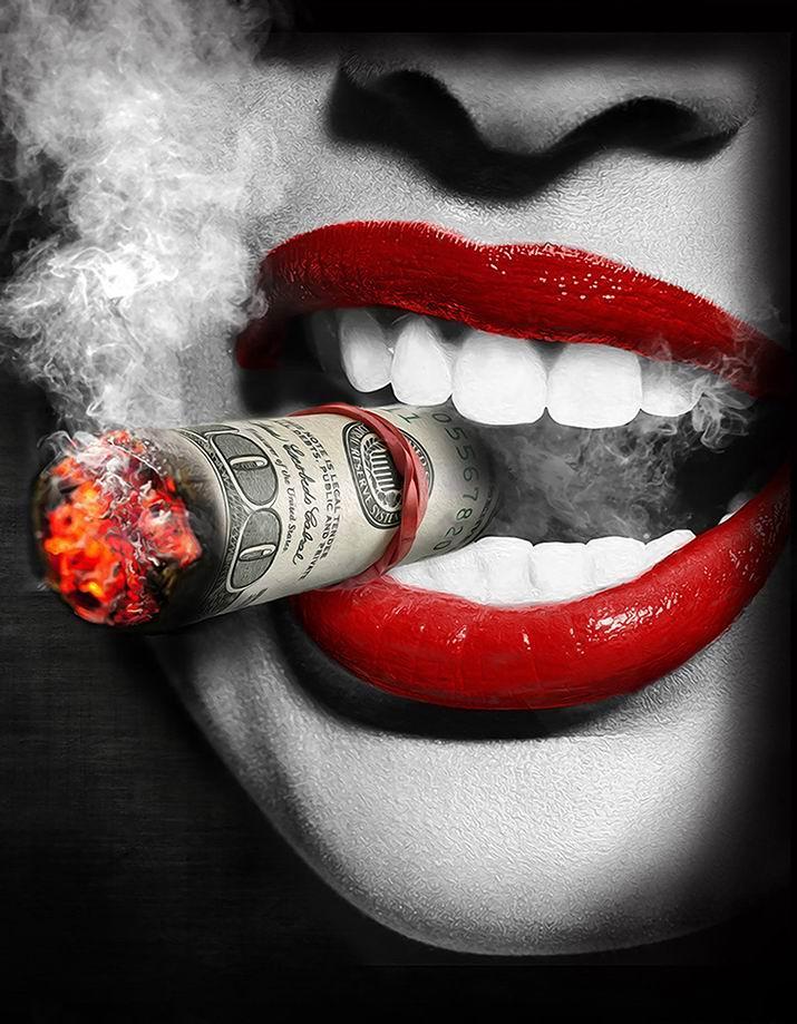 -.29-0013 # Sexy Lippen Frau mit Zigarette Hauptdekor handgemaltes HD Druck Oil 200 Gemälde auf Leinwand-Wand-Kunst-Leinwandbilder