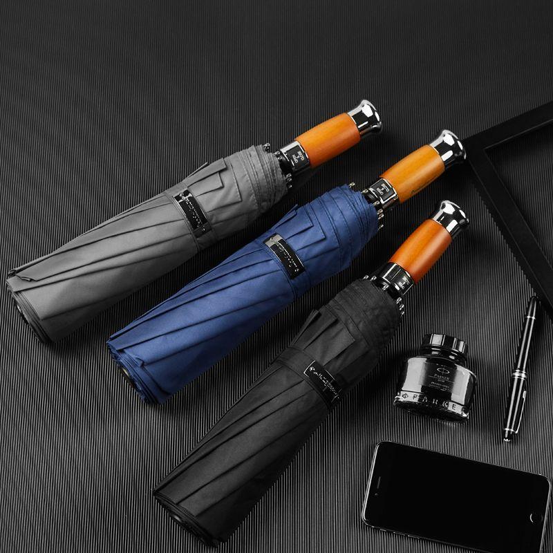 Grand parapluie Hommes d'affaires 1.2m entièrement automatique parapluie coupe-vent 10K poignée en bois parapluies de golf