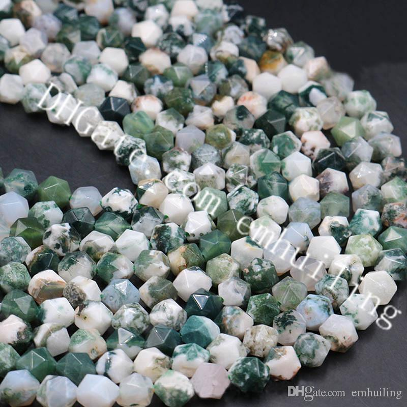 10 Strands Faceted Natural Tree Agate Diamond Beads Star Cut Colorful Precious Gemstone Nugget Beads 6-12mm for Good Luck Necklace Bracelet