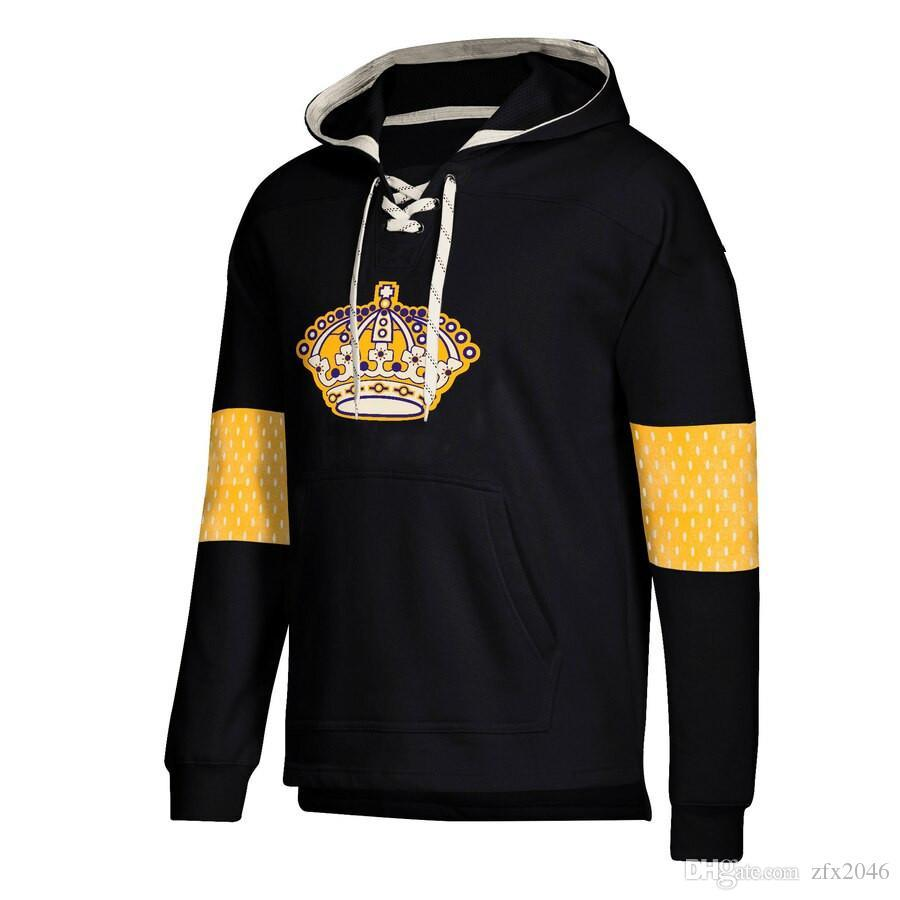 Los Angeles designer de hoodies Reis Jersey Lace-Up pulôver preto com emenda Desenhe corda Logo marca completa Mangas