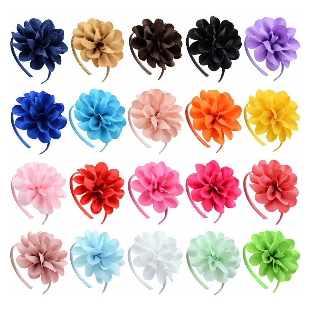 20pcs / Lot fita de gorgorão Sólidos Headband Big Flowers Hairbands Princesa Cabelo Acessórios de plástico menina Hairband Hairbands Com Curvas 701