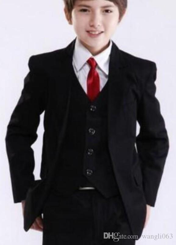 Black Kids Wedding Suits for Prom Party Tuxedos Graduation Children Suit Three Piece Custom Jacket Pants Vest Boys Formal Wear