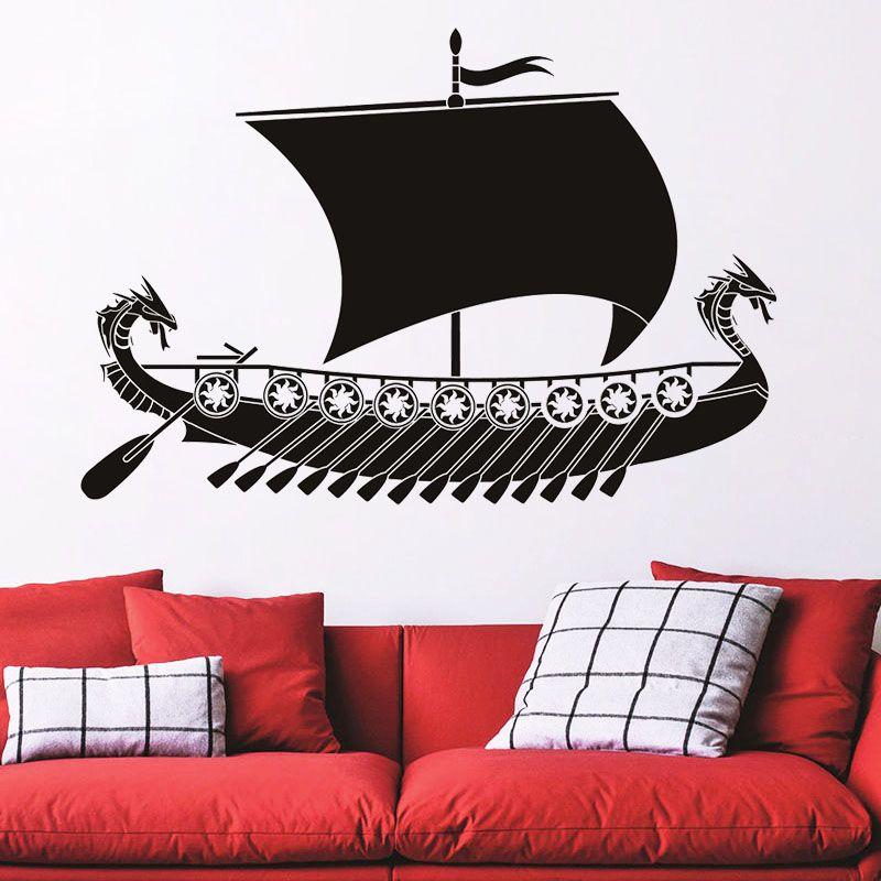 Compre Wallpaper Art Dragon Wall Viking Ship Sticker Home Decor Boat Decal Sala Decoracao Vinil Para Quarto Criancas Criancas Quarto De Joystickers 75 16 Pt Dhgate Com