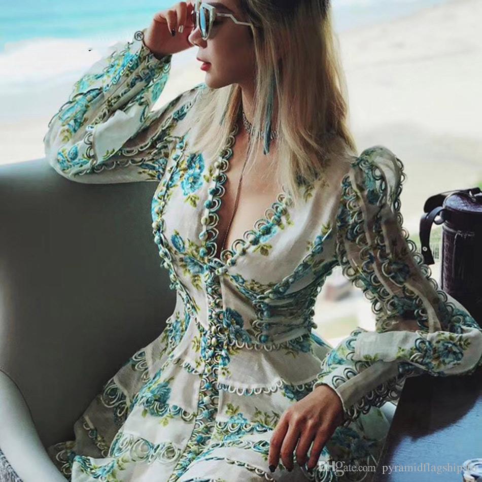 Yeni Tasarımcı Pist Elbise kadın Yüksek Kaliteli Puf Kollu Seksi V Yaka Çiçek Baskılı Nakış Düğme Tatil Elbiseler