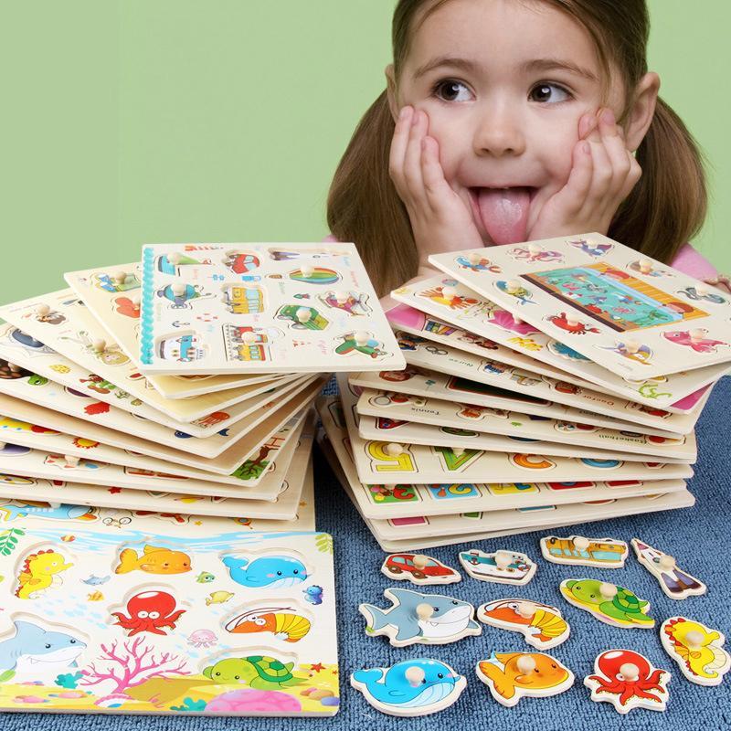 9 종류의 나무 퍼즐 나무 만화 동물 퍼즐 지능 어린이 조기 교육 장난감 어린이를 3D