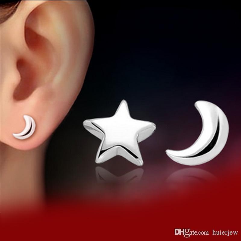 귀걸이 아름답게 패션 액세서리 1 짝 925 실버 도금 달 스타 스터드 귀걸이