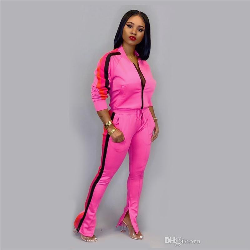Womens Side Striped Designer Tracksuits Autumn Fashion Ladies 2Pcs Sets Casual Female Cardigan Sports Set