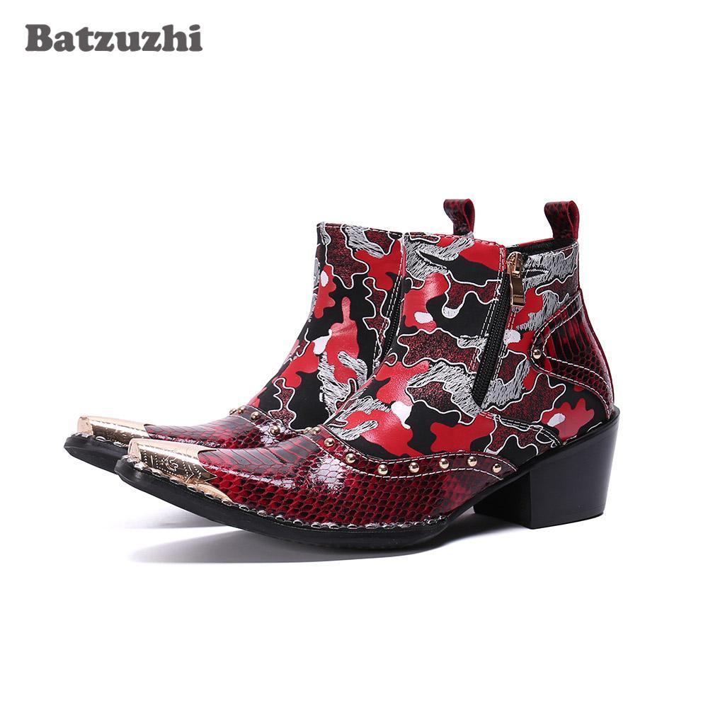 Batzuzhi Tacchi 6.5cm Botas hombre Stivali Moda Uomo stivali a punta di ferro pelle punk di colore uomini di partito e Wedding Calzature, 46