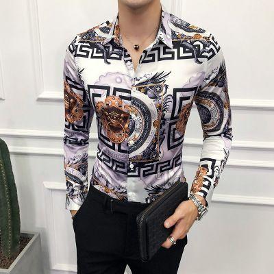 Shirt de manga comprida camisa dos homens novo Moda Men Gentleman Britânico de Moda coreana Imprima Totem Big Flower Top