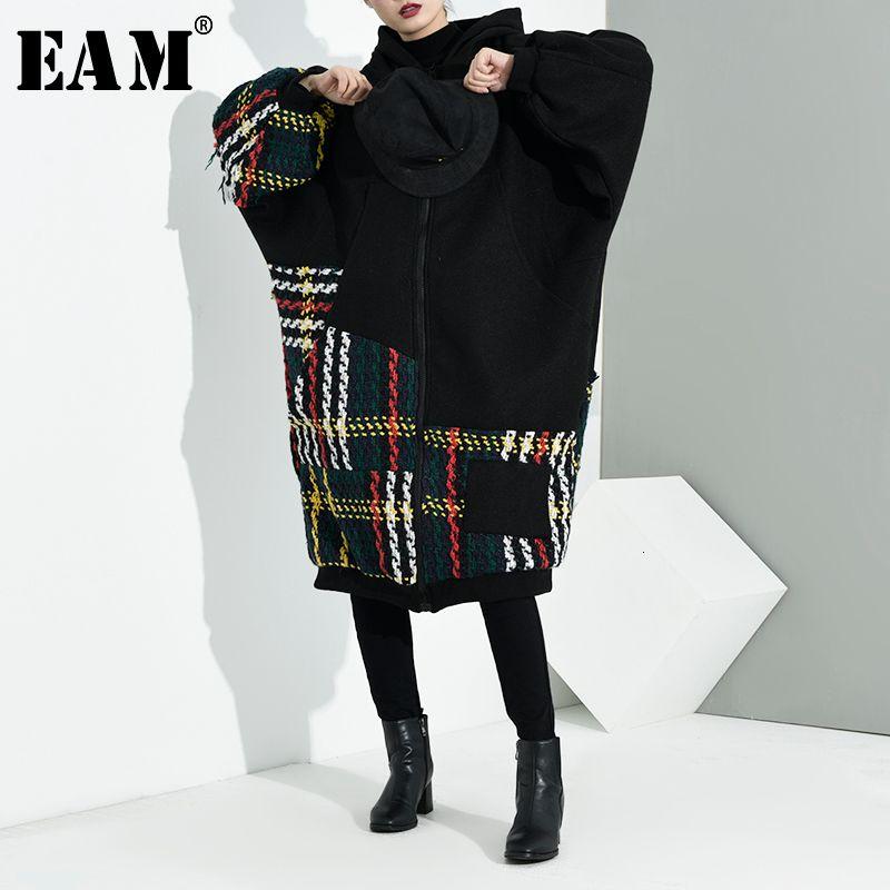 [EAM] Loose Fit Noir Plaid de Split Big Size Jacket New capuche manches longues femmes Manteau Mode Marée Automne Hiver 2019 A713-01