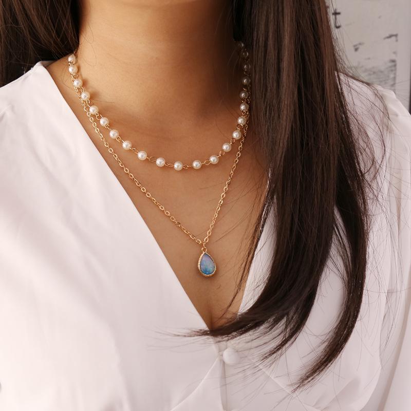 S1211 الأزياء الساخنة والمجوهرات طبقة مزدوجة سلسلة قلادة فو لؤلؤة الخرز سحر قلادة قلادة