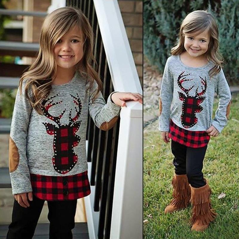 القطن عيد الميلاد جديد الطفل بنات ملابس الأحمر منقوش اللباس مع الأيل الأيل الظبي القميص طباعة بنين الاطفال عارضة مجموعة ملابس