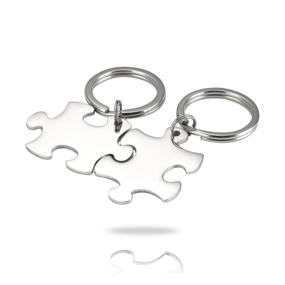 100% Puzzle en acier inoxydable Keychain blanc pour Gravez métal Porte-clés Miroir poli 10pair gros