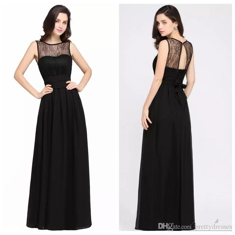 2019 Scoop Neck Sleeveless A-Line Prom Dresses Lace Top Chiffon Long Vestidos De Soiree Customized Women Evening Party Gowns Simple Cheap