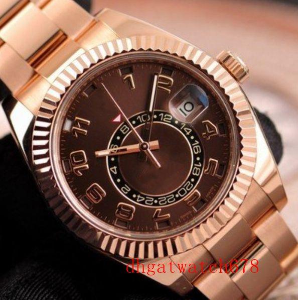 neuen heißen Verkauf Stil Luxus 42mm Asien 2813 Bewegung Sky-Dweller Schokolade Arabisch 326935 automatische mechanische 18K Rose Gold Herren-Uhr