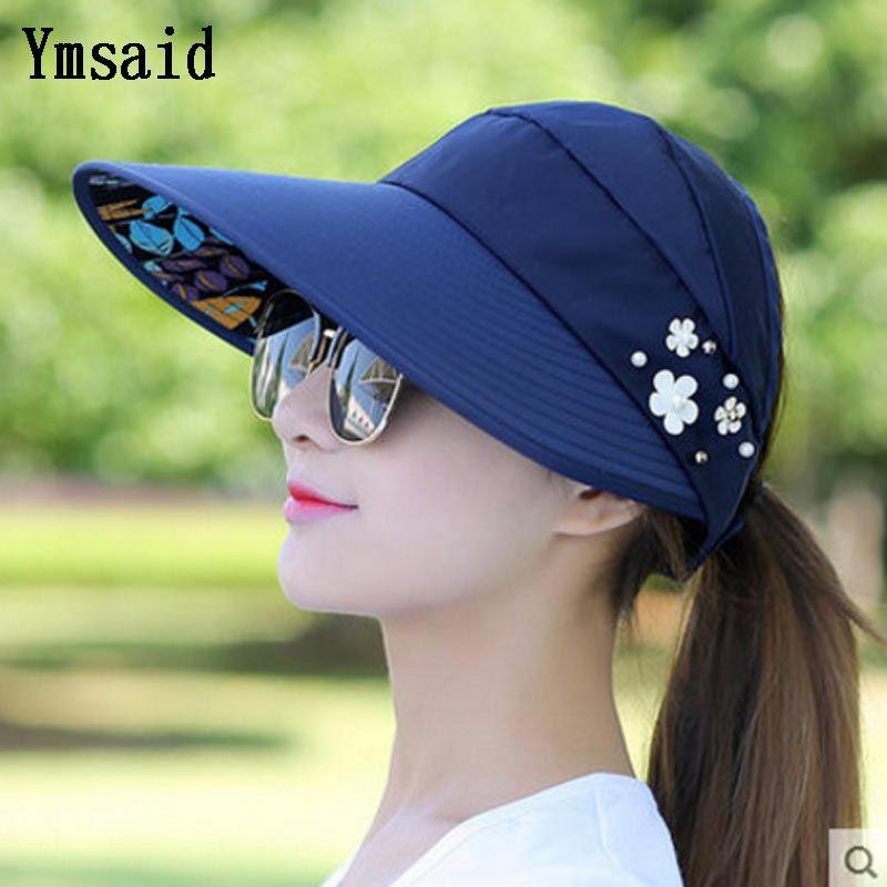 Ymsaid Summer Sun Hats Women Foldable UV Protection Sun Hat Visor Suncreen Floppy Cap Chapeau Femme Outdoor Beach Hat