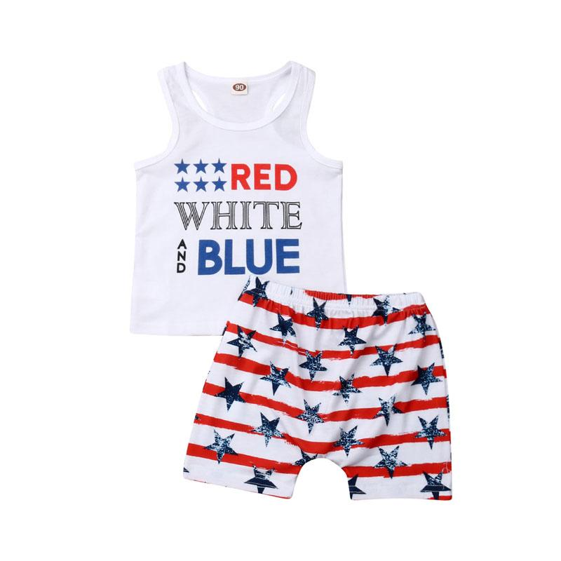 Pudcoco Fast Shipping Independence Day Costume Clothes Kids Baby Boys Clothes Set Sleeveless T-shirt Tops+Pants Outfit Set