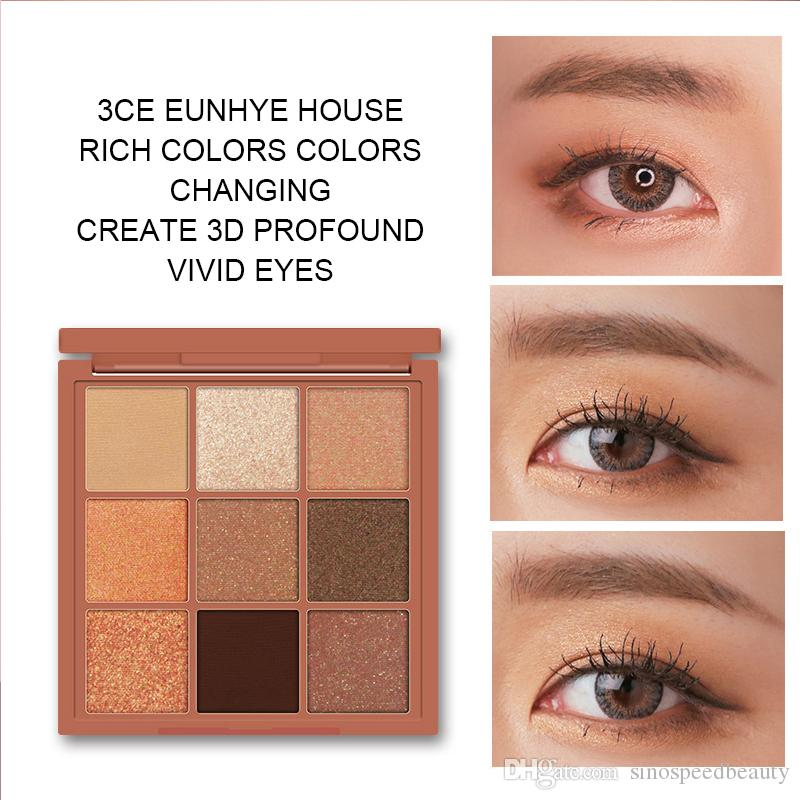 Professional eye Makeup 3CE eunhye house 9 Colors Eyeshadow Palette Smoky Matte shiny nude pumpkin color Eye shadow Cosmetics SG1502