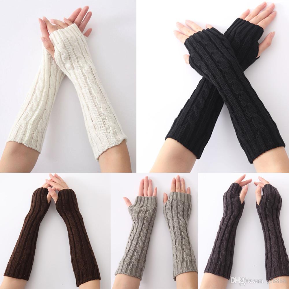 Hiver chaud femmes Mitten longue tricotée bras poignet Gants main de chaud Fingerless