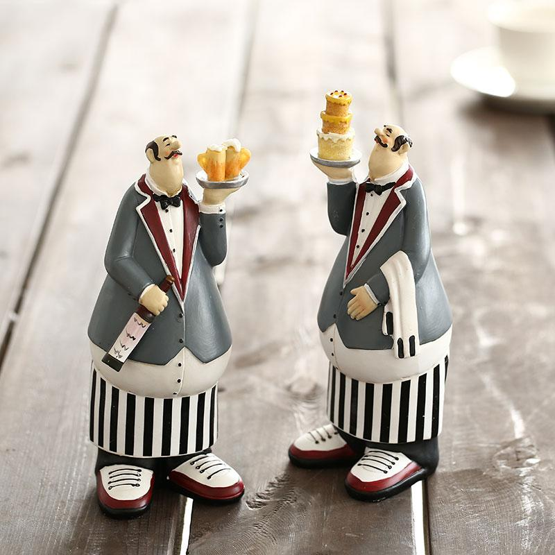 A Pair Of Restaurant Waiters Holding Stacked Cakes And Wine Home Decor Accessories Figurine Living Room Ornament Resin Gift