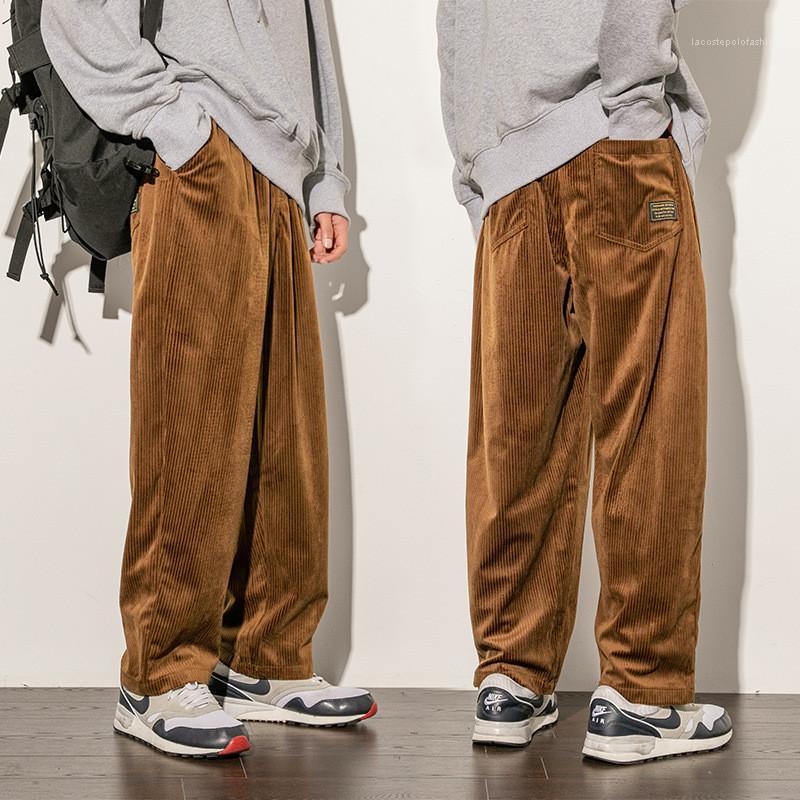Moda casual calças de cor sólida macho calças de desenhador de corduro Mens corduroy solta calças reta juventude plus size
