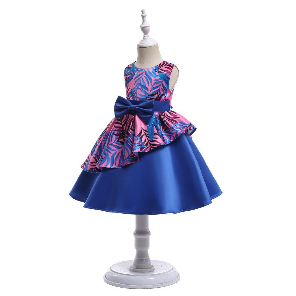 Kesim Saten Bir Çizgi Çiçek Kız Elbise Baskılı Pageant elbise Bow Kanat Geri Doğum Günü Partisi Elbiseler MC1688