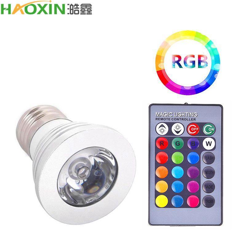 Haoxin alto potere 3W E27 RGB lampadina LED 16 colori 85-265V 110V 220V Lampada Modifica riflettori lampada con telecomando