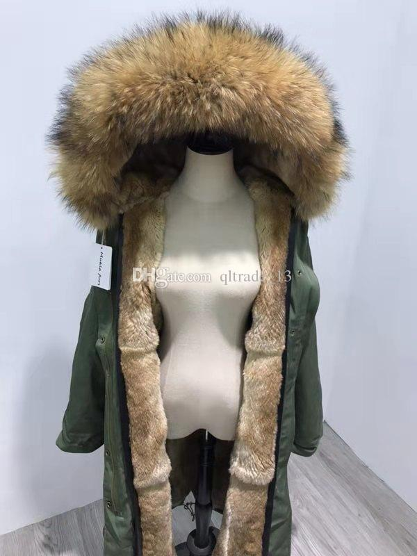 X-Long estilo Brown pele de guaxinim aparar Mukla peles marca grama marrom de pele de coelho exército forrada de lona verde longos casacos mulheres neve parka
