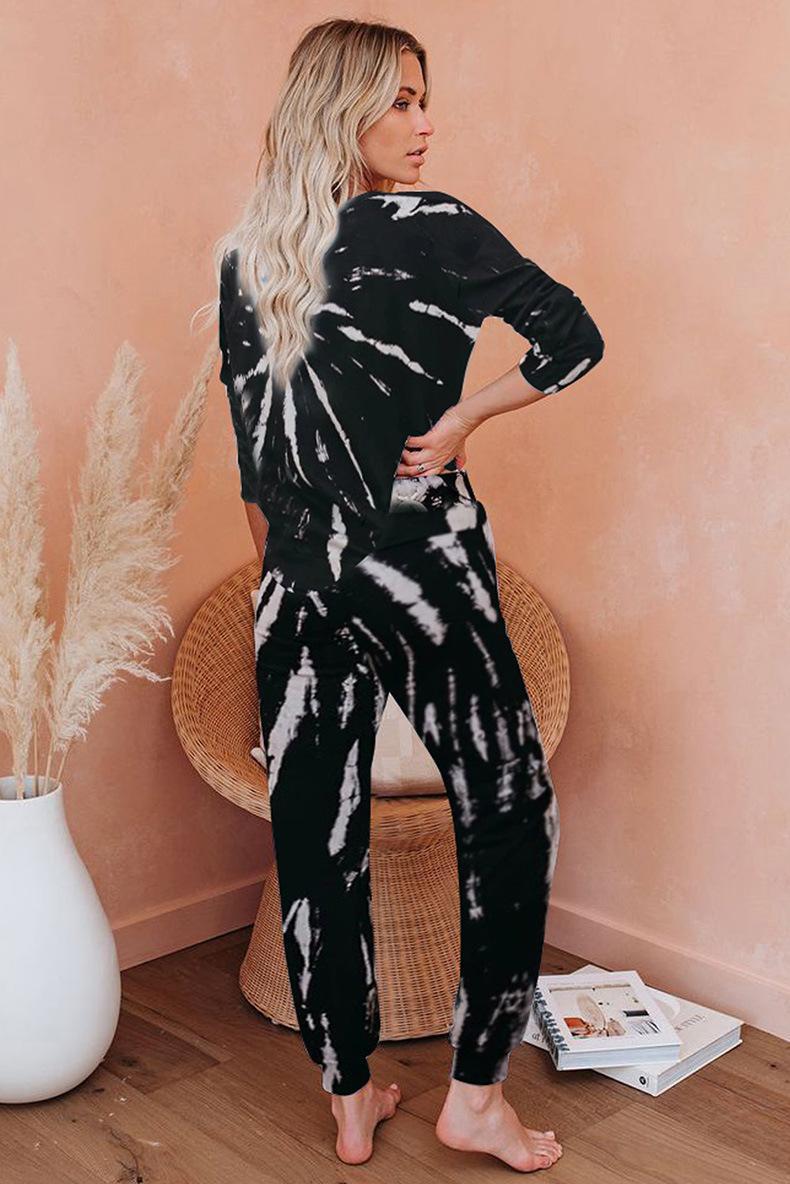 Top Quality Para Pijama Tiedye For Ladies Conjuntos Cortos De Pijama Con Cuello Redondo Y Pijama Tie Dye Shorts Preto Triplo newclipper GQLo