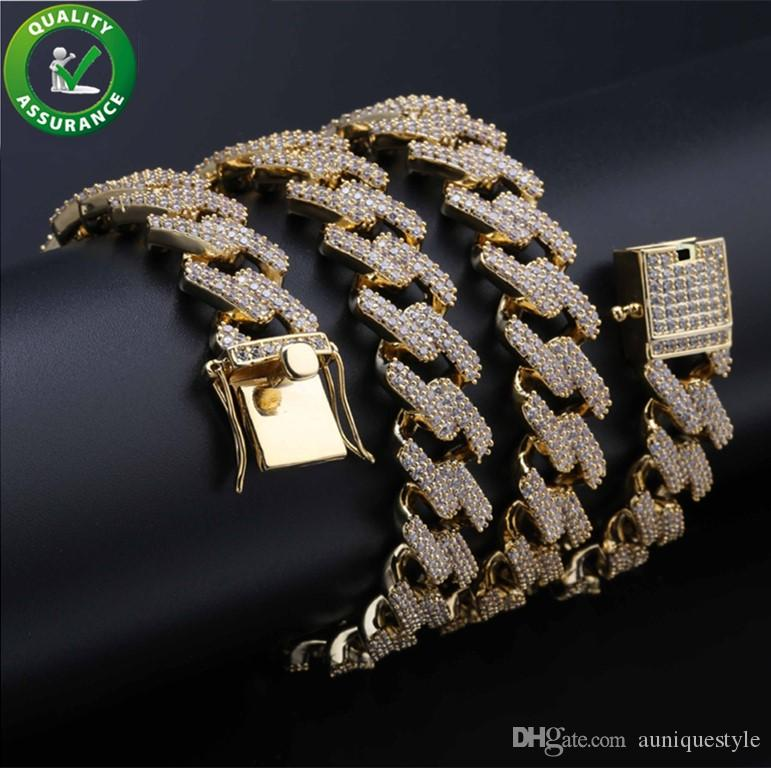 Iced Out Chains Designer Necklace Hip Hop Mens Jewelry Cuban Link Gold Luxury Diamond Bling Rapper Chain Micro Paved CZ Charms 14MM Charms