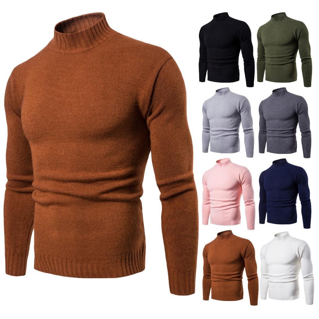 2020 Sonbahar Kış Yeni Erkek Turtleneck Slim-Fit dibe Gömlek Katı Renk Örme Triko Erkekler S örme