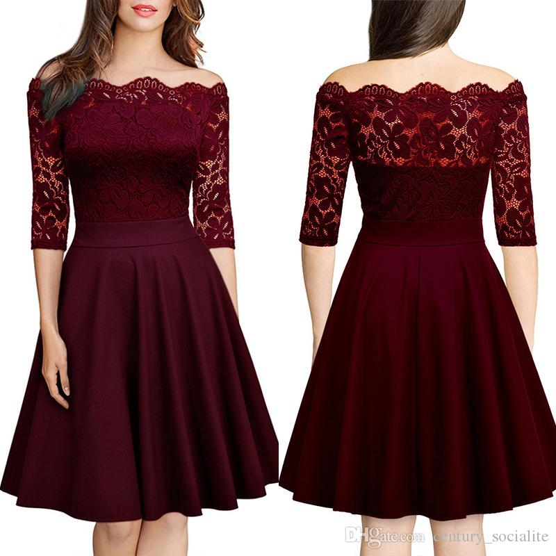 Off Shoulder Homecoming Dresses Knee Length A Line 34 Long Sleeves Short Prom Gowns Lace 2019 Nice Quality Red Long Dress Semi Dresses From