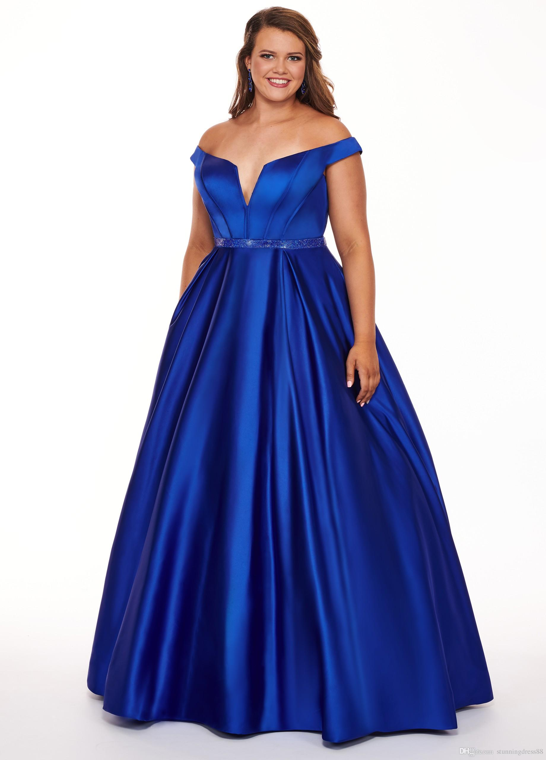 Royal Blue Plus Size Cheap Prom Evening Dress 2019 Long Vintage Off The  Shoulder With Sleeves Satin Special Occasion Formal Party Dresses Plus  Dresses ...