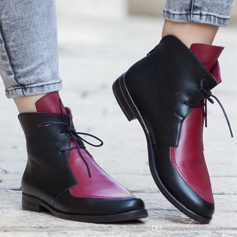 Plus Size Ankle Boots Women Platform Lace Up Buckle Shoes Thick Heel Short Boot Ladies Casual Footwear