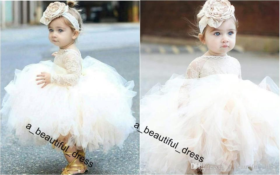 Vintage Flower Girls' Dresses Ivory Baby Infant Toddler Baptism Clothes With Long Sleeves Lace Tutu Ball Gowns Birthday Party Dress FG1238