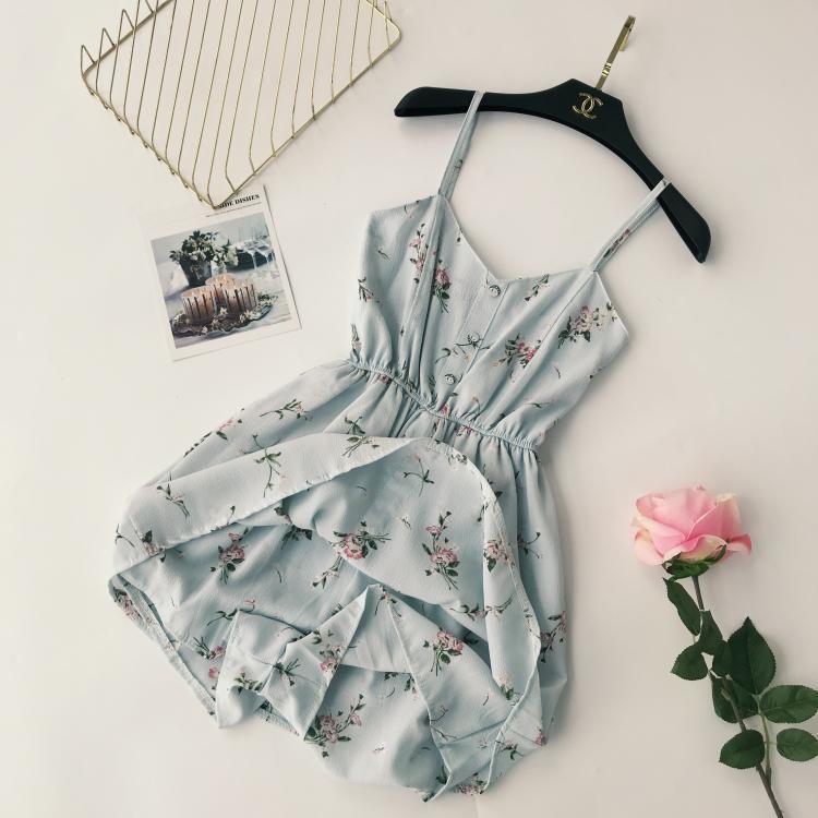 2018 Mode Sommer neue Frauen gedruckt V-Ausschnitt Stretch High Waist Strap Kleid Y19051001