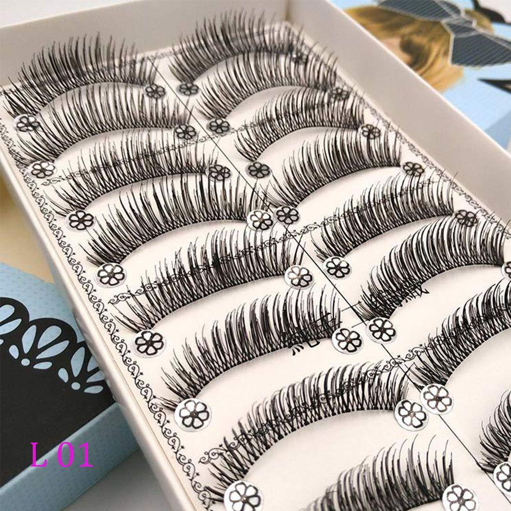10 Pairs Natural False Eyelashes Fake Lashes Wispy Thick Long Crisscross Lashes Extension Handmade Eyelash Charming Eyes Makeup