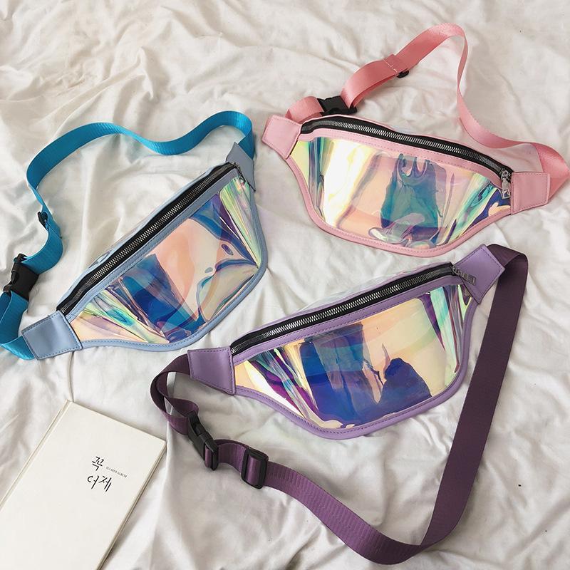 3styles Laser Belt Bum Bag bolsa à cintura impermeável Transparente Limpar Punk Holographic Bloco de Fanny Laser cintura pack FFA2282-1
