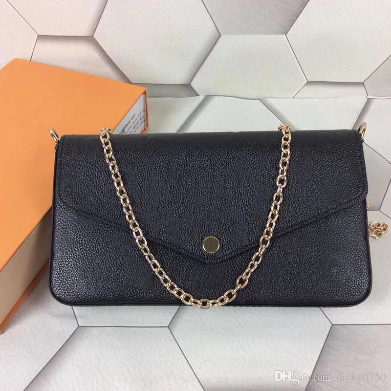 Diseñador-Felice 3 bolsos de diseño compuesto genuina correa de cadena de cuero cartera de hombro crossbody bolsas Monederos de las señoras las mujeres con la caja de la bolsa