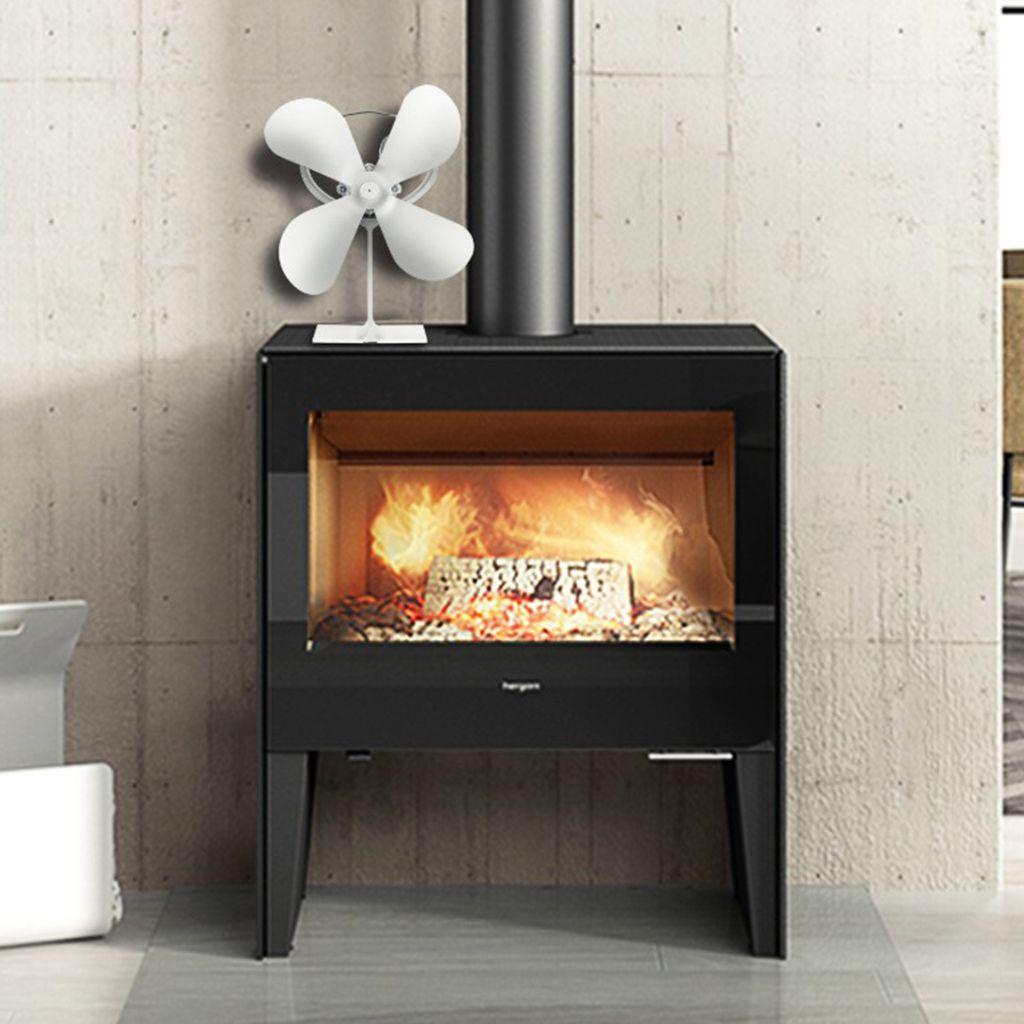 4 palas Auto estufa de calor del ventilador accionado de madera del registro del quemador / Fireside calentador, carbón fuego del quemador, Añadir más de Aire Caliente