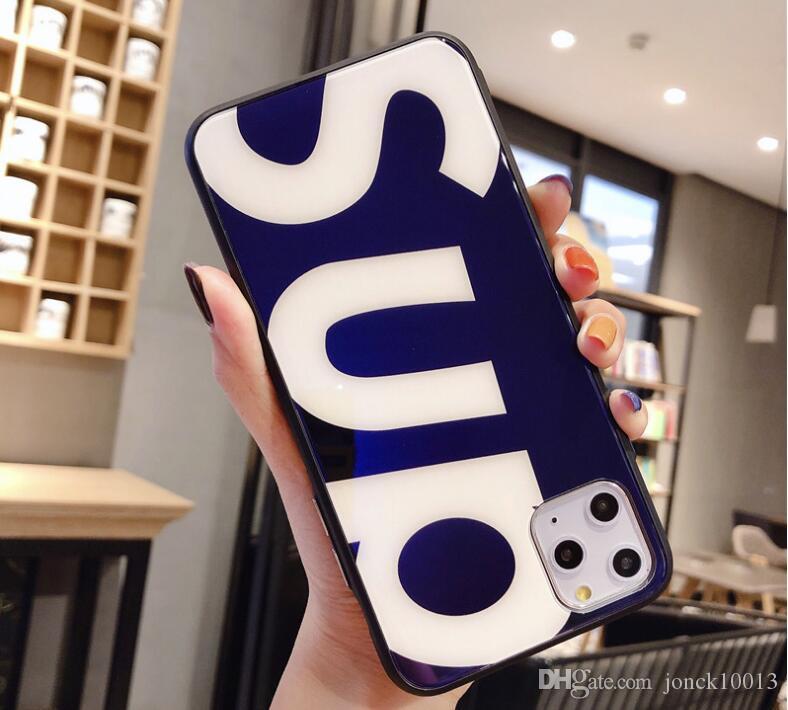 المد والجزر العلامة التجارية الأزرق الزجاج الخفيف ماكس أبل 11pro حالة الهاتف المحمول iPhone7 / 8plus شاملة للجميع الحالات فاخر مصمم الهاتف انخفاض حافة