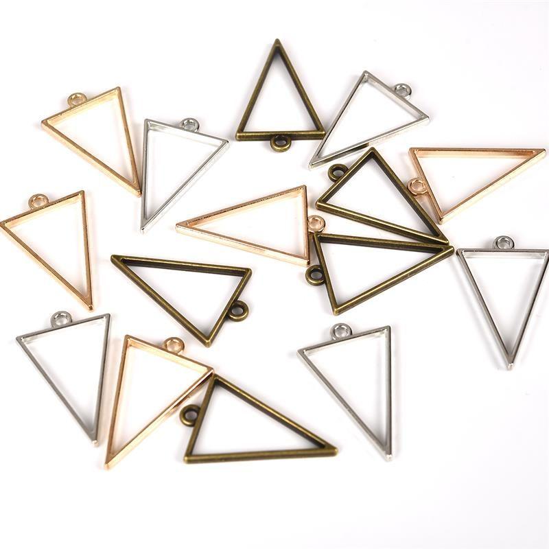 10pcs 25x39mm Triangle Open Back Bezel Hollow Blank Pendant Charm Pressed Flower Resin Blank Frames Pendants Jewelry Making DIY