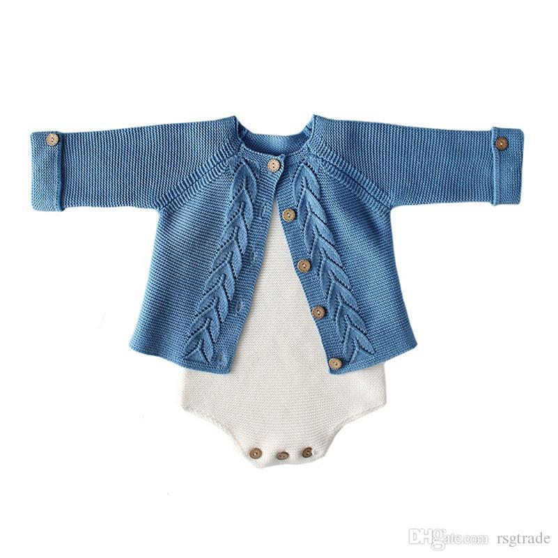 Fall Ins Toddler Baby Girls Maglione Sulti Tute Pagliaccetti Cotton Blank Blank Manica Lunga Cappotto Pulsanti anteriore Designs Body Autumn Neonato